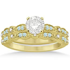 Marquise and Dot Pave-Set Aquamarine and Diamond Milgrain Bridal Set in 14k Yellow Gold 0.49ct