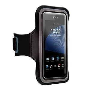 kwmobile® Sport Jogging Armband für Sony Xperia Z1 Compact mit Schlüsselfach und praktischem Klettverschluss in Schwarz