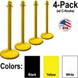 Plastic Stanchion 4 Pack Kit in Yellow with Chain & C-hooks