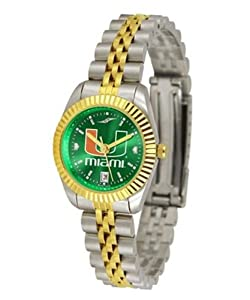 University of Miami Hurricanes Ladies Gold Dress Watch by SunTime