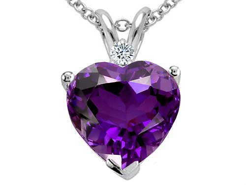 Amethyst and Diamond Pendant in 10k White Gold