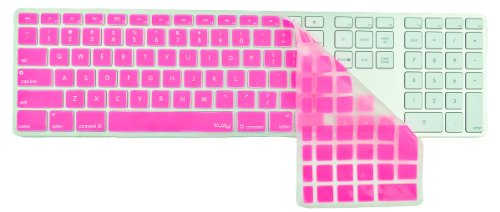 Kuzy - Full Size Pink Keyboard Cover Skin Silicone For Apple Keyboard With Numeric Keypad Wired Usb For Imac - Pink