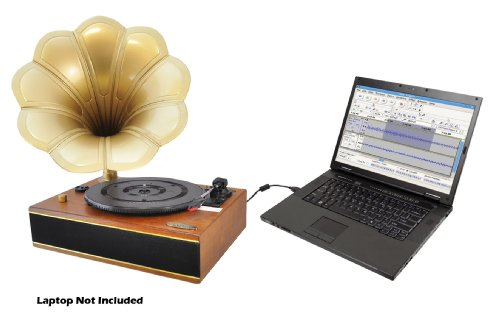 Pyle Home PNGTT1R Classic Horn Phonograph/Turntable with USB-To-PC Connection and Aux-In (Mahogany) 4