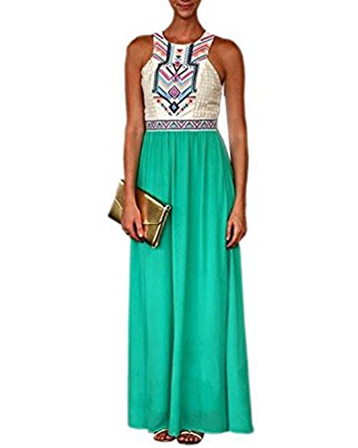 POSESHE Women Summer Bohemian Floral Print Full Length Maxi Dress (XXL, Green)