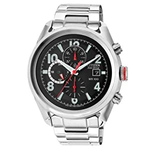 Beautiful Citizen Men's Eco-Drive Red Crown Chronograph Bracelet Watch