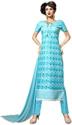 Manmauj Women's Cotton Unstitched Dress Material (MM10052DBLU, Turquoise)