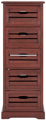 Safavieh American Homes Collection Sarina 5-Drawer Cabinet, Red front-46976