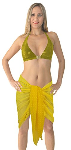 La Leela super-puro chiffon leggero pianura beachwear hawaiian 3 in 1 gonna / prendisole / coprire il bikini CMS una dimensione avvolgente sciarpa sarong pareo 183x53 giallo