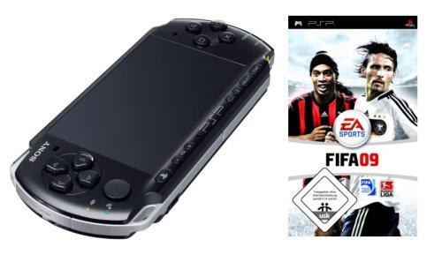 PlayStation Portable - PSP Konsole Slim & Lite 3004, schwarz inkl. FIFA 2009 + FIFA Sticker