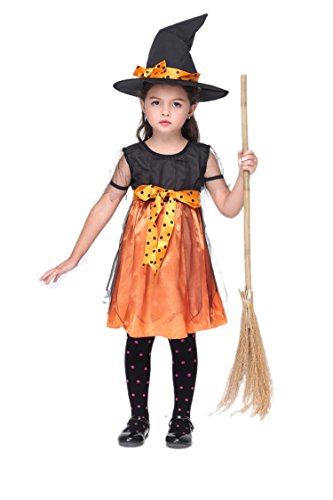 NonEcho Halloween Witch Costumes for Girls Little Pumpkin Witch Outfit