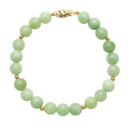 8mm Round Green Jade Stone Bracelet  14K Yellow