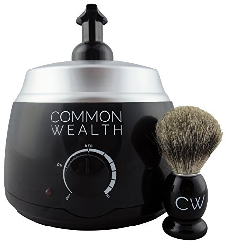 Common Wealth Professional Deluxe Hot Lather Machine Barber Latherizer King Size Black Color With Bonus 100% Badger Shaving Brush & 8oz Lather Concentrate (Hot Lather Shaving Cream Machine compare prices)