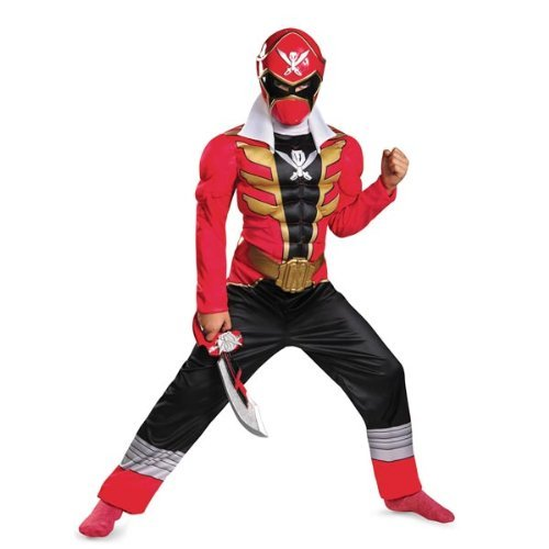 Disguise Saban Super MegaForce Power Rangers Red Ranger Classic Muscle Boys Costume, Medium/7-8 by Disguise (Saban Super Megaforce Power Rangers Muscle Costume)