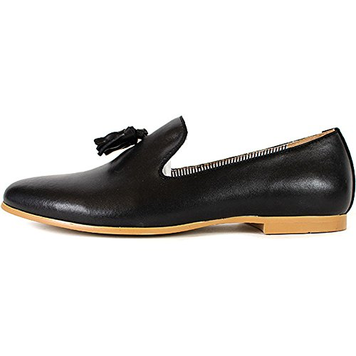 New Premium Stylish Tassel Mens Leather Slip On Casual Dress Shoes Black (10)