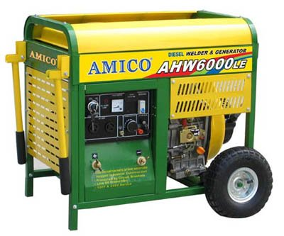 Amico Portable Diesel Welder/Generator - 6500 Surge Watts, 6000 Rated Watts, Electric Start, Model# Ahw6000Le