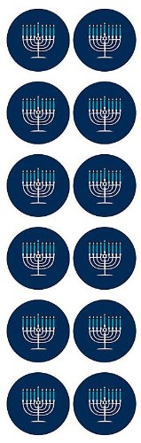 "Waste Not Paper Hanukah Menorah 1.25"" Circle Stickers-0.25 lbs"