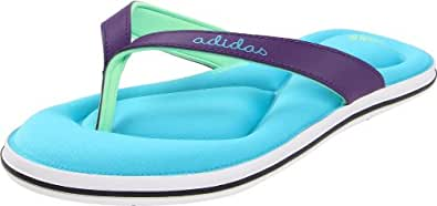 adidas Women's Juuvi 2 FF Sandal,White/Super Cyan/Power Purple,10 M US
