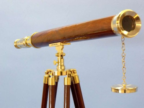 "Floor Standing Brass/Wood Harbor Master Telescope 60"" - Harbor Master Telescope - Brass Telescope - Nautical Decoration - Nautical Brass Telescope - Brand New"