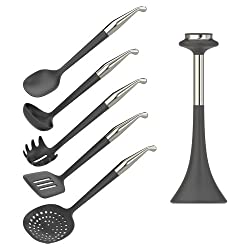 Bewater - Radius Magnetic Kitchen Utensils 5 Pcs Set with Stand Stainless Steel - Black