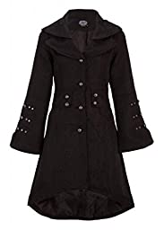 Elegant Black Victorian Winter Jacket Coat with Lacing - Size Medium