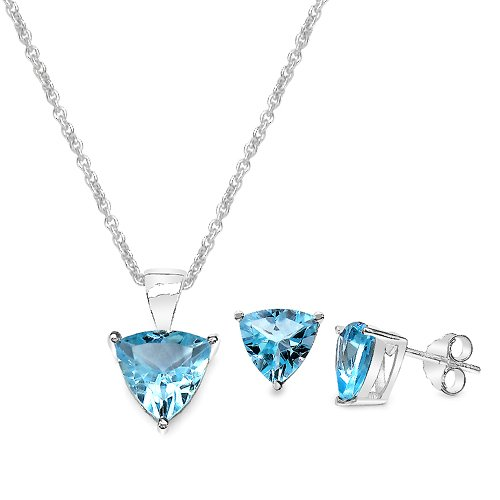 6.00 Carat Blue Topaz Triangle Shape .925 Sterling Silver Earring & Pendant Set