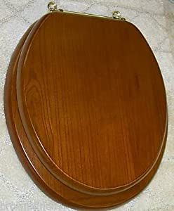 NEW SOLID OAK WOOD TOILET SEAT WITH BRASS HINGES