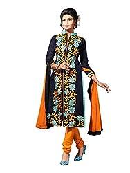 Craftliva Navyblue Embroidery Chanderi Cotton Dress Material