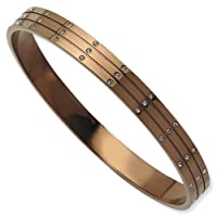 Stainless Steel 8in Polished Chocolate Plated w/ CZs Bangle/Met Weight- 24.19g. by Jewelrypot