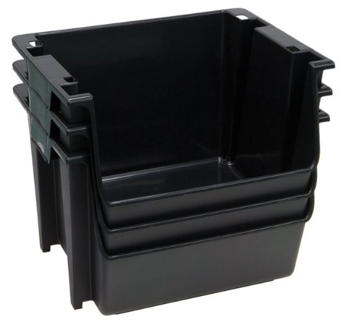 United Solutions Sb0121 Set Of Three Large Plastic Nesting/Stacking Storage Bins In Black-3 Rough And Rugged Black Bins That Nest Or Stack To Organize Your Life front-421677