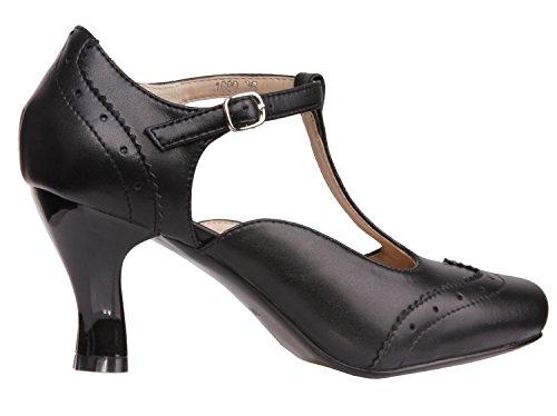 Vijiv Women's Teardrop Cut Out T-Strap Mid Heel Dress Pumps 2