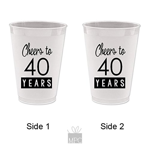 40th Birthday Frost Flex Plastic Cups - Cheers to 40 Years