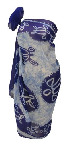 La Leela Turtle Print Beach Cover Up Sarong R Blue