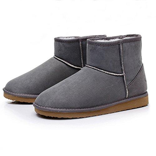 Minetom Damen Classic Schuhe Stiefeletten Winter Fur Boots Winterstiefel Warm Casual Flats Bequeme Mode Boots ( Grau EU 37 )