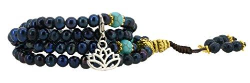 Black Dyed Freshwater Cultured Pearls Yoga Meditation 108 Prayer Beads Mala Wrap Bracelet or Necklace (Lotus Flower)