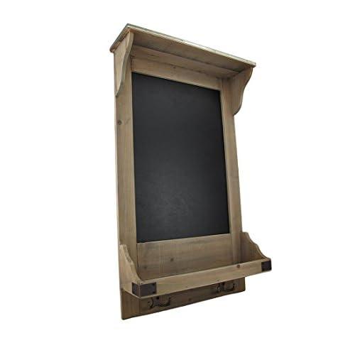 Vintage Style Wooden Wall Shelf w/Hooks and Chalkboard