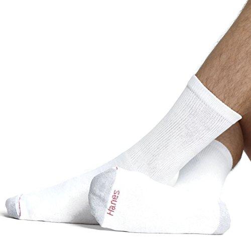 Hanes Men's Big & Tall Crew Socks, 12-Pack White 12-14 Hanes Men's Big & Tall dockers men s 5 pack classics dress argyle crew socks