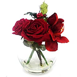 Peony 6479 Amaryllis Rose and Holly Artificial Floral Arrangement in Large Fishbowl - Red
