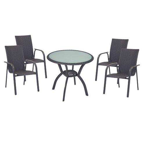 Testrut Gartenmöbel-Set Modena, Rattan, 1 Tisch und 4 stuhle,anthrazit