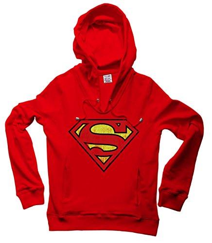 DC Comics - Superman Logo Sweatshirt con collo v e con cappuccio - felpa con collo v e con cappuccio - rosso - design originale concesso su licenza - LOGOSHIRT, taglia XL