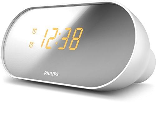 Philips AJ2000/12 - Radio reloj alarma dual (pantalla espejo, radio digital), color blanco