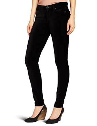 7 For All Mankind Women's The Velvet Skinny Pant, Black, 26