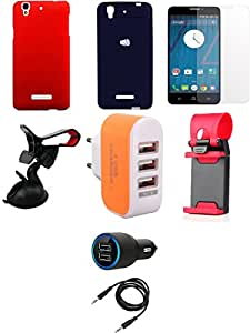 NIROSHA Tempered Glass Screen Guard Cover Case Car Charger Mobile Holder Charger car Combo for YU Yureka Combo