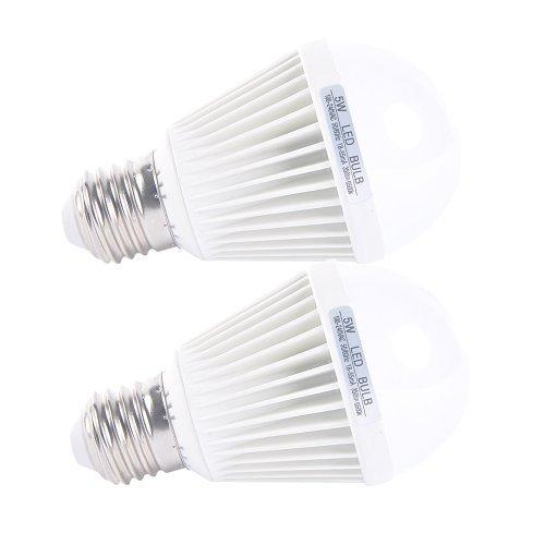 Riin E27 Led Light Bulb Pack Of 2 Super Bright Lamp 5W 350Lm White Light Ac100-240V Color White