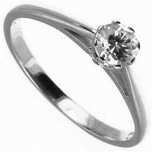 9ct White Gold Diamond Engagement Ring With Round Brilliant Diamond Solitaire, 1/3 Carat Diamond Weight