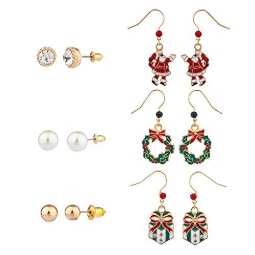 Lux accessori di Natale Babbo Natale Ghirlanda e Multi Orecchini Set (6pc)