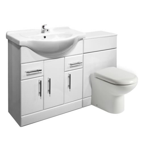 750mm White Gloss Vanity Unit and Back to Wall Toilet Pan and FREE Tap