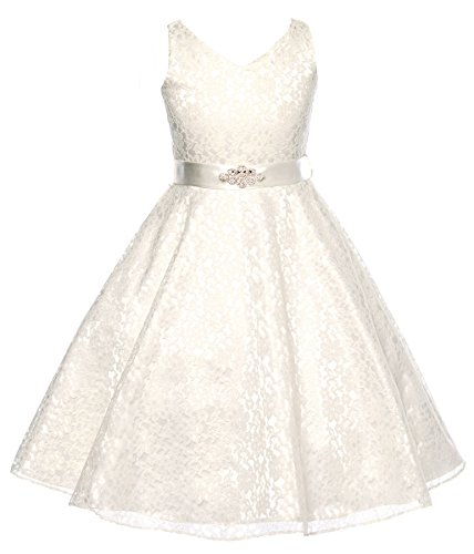 Dressforless Lovely Lace V-Neck Flower Girl Dress , Ivory, 8