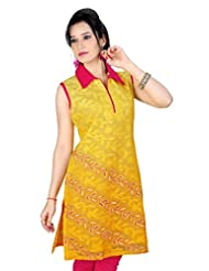 Fashion Curries Yellow Shaded Chanderi Kurta