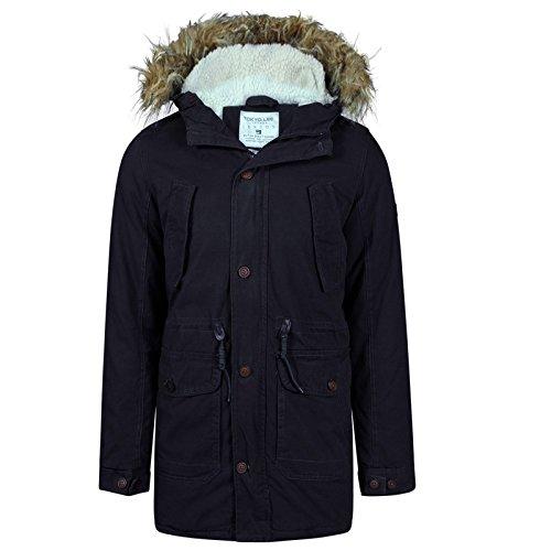 Da uomo alta qualità Tokyo Lee Burton stile tela staccabile Furr Fashion con cappuccio Button up Fishtail Parka Cappotto Navy Medium
