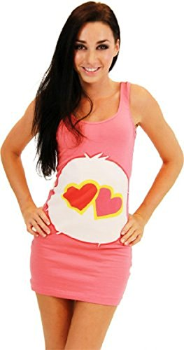 Care Bears Love-A-Lot Bear Coral Pink Costume Tunic Tank Dress - Large Juniors Fit